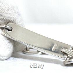 Auth Vintage GUCCI Plate Chain Bracelet Sterling Silver 925 18cm/7 Made Italy