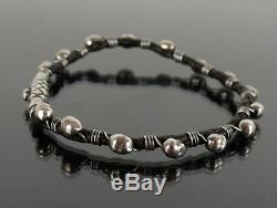 Authentic BVLGARI Black Leather x Sterling Silver 925 Bracelet Made in Italy