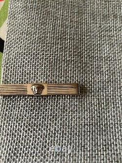 Authentic Gianni Versace Sterling Silver Medusa Tie Bar Clip Made in Italy