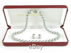 Authentic Majorica Pearl Made in Spain 10mm Earrings & 7mm Necklace SET + Case