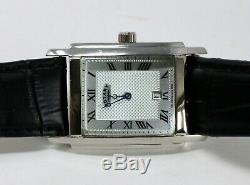 Authentic Rotary Mens Silver Guilloche Swiss Made Watch GS42829/01 Black Leather