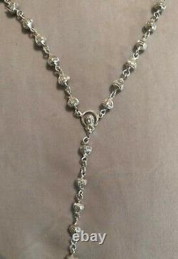 Beautiful Catholic 925 Sterling Silver Rosary Necklace Hand Made In Italy