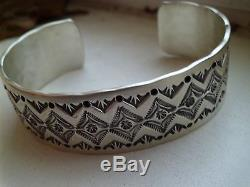 Beautiful Navajo Made Cuff By Leonard Maloney Sterling Silver Heavily Stamped