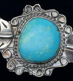 Beautiful Vintage Turquoise & Sterling Silver Native American Hand Made Necklace