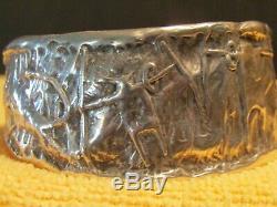 Bill Worrell' Southwest Shaman Effigy 3 Oz. Sterling Silver Cuff Made 10/21/91
