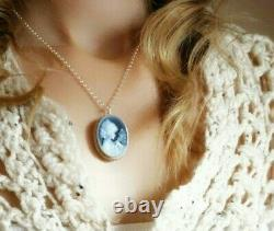 Blue Agate cameo and silver 925 sterling necklace brooch made in Italy, Jewelry