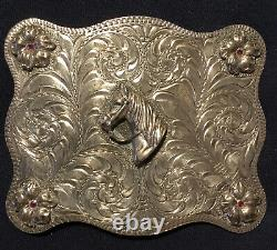 Bohlin Type Hand Made Sterling Silver Western Horse Whisperer Belt Buckle
