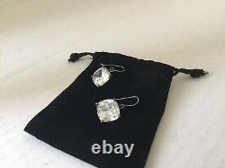 Bottega Veneta Cubic Zirconia Sterling Silver Drop Earrings. Made in Italy