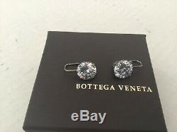 Bottega Veneta Zirconium Sterling Silver Drop Earrings. Made in Italy