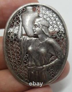Brooch Sterling 925 Made in Palestine by bezalel filigree Jerusalem rachel vtg
