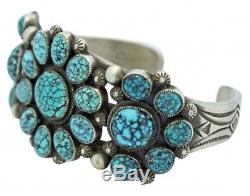 Calvin Martinez, Bracelet, Spider Web Turquoise, Sterling Silver, Navajo Made, 6.25