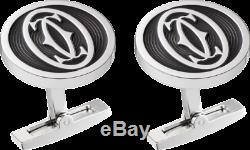 Cartier Double C Large Logo Decor Cufflinks Sterling Silver 925 Made in France
