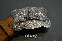Clint Orms Sterling Longhorn Buckle With Ostrich Custom Made Belt 36