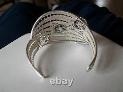 Custom Made Filigree Bracelet Sterling Silver 925 Cut Out Flowers Beaded Area