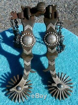 Custom Made Sterling Silver Iron Cowboy Buckaroo Horse Spurs by T. Hunter