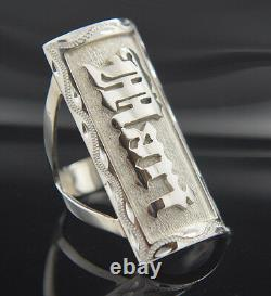 Custom Ring with your NAME, number, symbol on Sterling Silver. 925 100% Hand Made