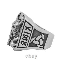 Custom made Men's Viking Odin Ring Sterling Silver 925 Norse God Handcrafted