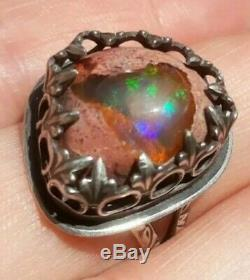 Custom made STERLING Mexican JELLY CANTERA FIRE BOULDER OPAL NATIVE RING Sz 8.75