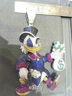 Custom-made Scrooge Mcduck Diamond Pendant Cartoon 14k White Gold Finish 180 Gm