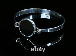 Danish silver bangle made by Arne Johansen and set with Black Onyx