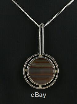 Danish silver pendant designed and made by Arne Johansen and set with stri Agate