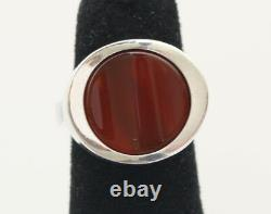 Danish silver ring designed and made by N. E. From, set with Cornelian
