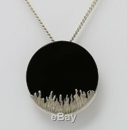 Danish sterling silver pendant designed and made by Arne Johansen with BlackOnyx