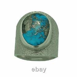 Darryl Dean Begay, Ring, Morenci Turquoise, Tufa Cast, Navajo Made, 10 1/2