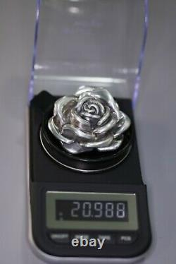 Designer Signed Large 925 Sterling Rose Pendant With Silver Ring Made in Italy