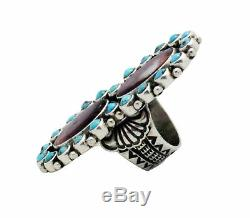 Donovan Cadman, Ring, Cluster, Spiny Oyster, Turquoise, Silver, Navajo Made