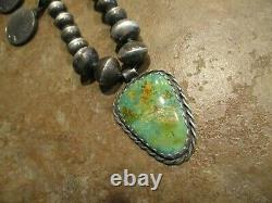 EARLY Hand Made Navajo Sterling Turquoise BUFFALO NICKEL Squash Blossom Necklace