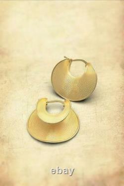 Earlobe 27mm Diametre Beautiful 18K Yellow Gold Over Hoop Earrings Made in Italy