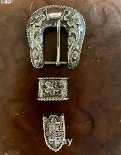 Edward H Bohlin Sterling Silver Buckle Set Made to fit 3/4 Belt