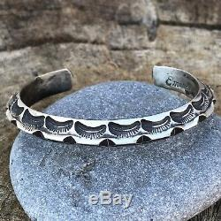 Emerson Bill Sterling Silver Navajo Hand Made Cuff Bracelet Signed