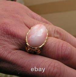Estate Silver Gold Pink Coral Gem Original Ring Size 8 Made in Italy Vintage