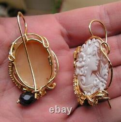 Estate Solid Silver Gold Cameo Carved Shell Stud Earrings Natural Made in Italy