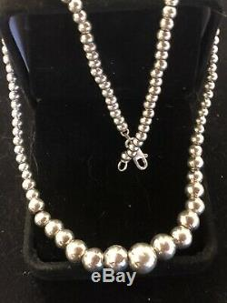 Estate Sterling Silver Graduated Ball Bead Necklace Signed Rse Made In Italy