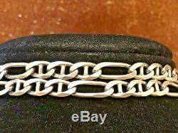 Estate Sterling Silver Necklace Chain Solid Made In Italy Men's Figaro