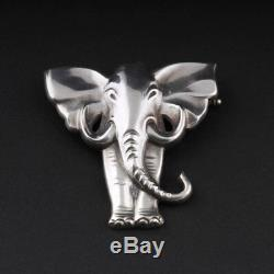 Evald Nielsen Silver Brooch with Elephant. 925. MADE IN DENMARK. VERY RARE