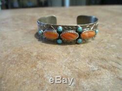 FANTASTIC Vintage Navajo Hand Made Sterling Spiny Oyster Turquoise FISH Bracelet