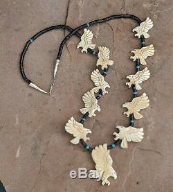 Fetish Necklace Bald Eagle Heishi Beads Hand Made Zuni Native American Jewelry