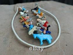 Fetish Necklace Horses Heishi Beads Hand Made Zuni Native American Jewelry