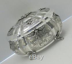 Fine Napoli 925 Sterling Silver Hand Made Leaf Chased Oval Jewelry Esrog Box