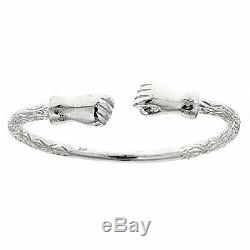 Fist. 925 Sterling Silver West Indian Bangle 7.5 47 Grams (MADE IN USA)