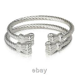 Fist Ends Coiled Rope West Indian Bangles. 925 Sterling Silver Made In USA Pair
