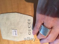 GUCCI Authentic Sterling Silver Ring, Size 6, Made in Italy, Original Pouch, Box