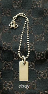 GUCCI Authentic Tag Motif Ball Chain Bracelet Made in Italy 925 Sterling Silver