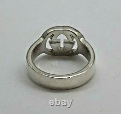 GUCCI Interlocking GG Sterling Silver RING Size 7 Made in Italy