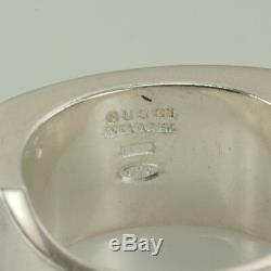 GUCCI STERLING SILVER UNISEX SIGNET RING size 6 made in iTALY