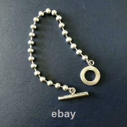 GUCCI Sterling Silver 925 Ball Chain Toggle Bracelet 7.7 Made in Italy NO BOX
